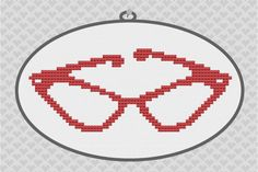 Vintage Cat Eye Glasses Silhouette Cross Stitch PDF Pattern. $3.50, via Etsy.