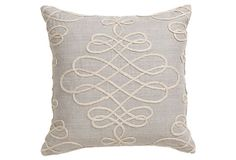 Adeline 18x18 Linen Pillow, Gray on OneKingsLane.com