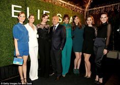Elie's ladies: The designer was surrounded in his creations as all the actresses, including Jena Malone (far left) posed up for photographers