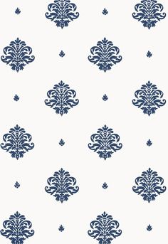 "This wallcovering features a small scale classic damask motif, which is derived from traditional European textile designs and is hand block printed with open spacing on a solid ground. The palette ranges from dramatic Navy on white to subtle antique Gilt on craft paper tan. | Mayla Damask in Navy | Schumacher. Width - 27"" Horizontal Repeat - 13.5"" Vertical Repeat - 13.5"""