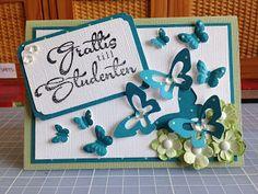 Randis hobbyverden: STUDENTKORT i blått/grönt/hvitt med sommerfugler