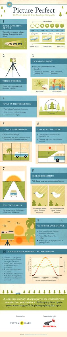 Today we came across this useful – for beginners – infographic to help new photographers improve their Landscape Photography. It is based upon our post – 11 Surefire Tips For Improving Your Landscape Photography. PS: We've included a few links below to he Photography Cheat Sheets, Photography Basics, Photography Lessons, Photography Camera, Photoshop Photography, Photography Business, Photography Tutorials, Photography Ideas, Photography Hashtags