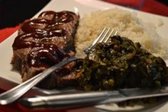 Roasted Bourbon BBQ Brisket with Garlic Butter Rice, Collards and Kale