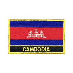 Cambodia Flag Patch Embroidered Patch Gold Border Iron On patch Sew on Patch Bag Patch meet you on www.Fleckenworld.com