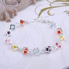 925 Sterling Silver Rubiks Cube Bracelet & Earring Set