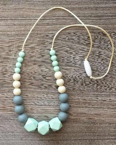 Beaded Silicone Teething Necklace in Mint and Grey For Mom and baby lol Teething Necklace For Mom, Teething Jewelry, Nursing Necklace, Baby Jewelry, Love Necklace, Beaded Necklace, Necklaces, Baby Schmuck, Bebe Love