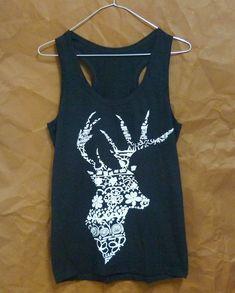 afbfe28211402 Flower deer tshirt sleeveless shirt/ workout tank by WorkoutShirts Workout  Tank Tops, Workout Shirts