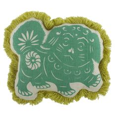 Foo Dog Reversible Flax Pillow in Jade design by Thomas Paul