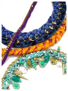 The Lilac Pages: My kind of DIY: woven chain jewellery, 100% made by moi! Love the turquoise and seashell detailing.