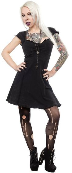 Inked Boutique - Vavavoom Dress Dirty Snow Psychobilly Goth Punk http://www.inkedboutique.com