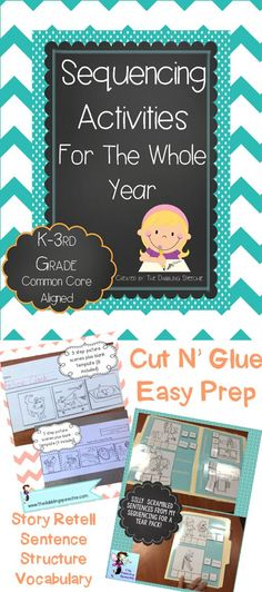 Great activities to target sequencing, cause/effect, vocabulary and writing. $ https://www.teacherspayteachers.com/Product/Sequencing-Activities-For-The-Whole-Year-1373719