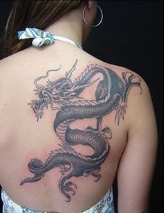 8 Amazing Dragon Tattoos on Back for Women (8)