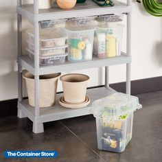 Customize the Tribac Shelving System with matching totes that add even more storage. Designed to hang from Tribac Rails (sold separately), each rugged bin functions as a sliding drawer so you can easily organize small items and supplies. Made of clear polypropylene, each tote can be used with a custom-fit lid (sold separately). Fabric Storage Bins, Lid Storage, Reach In Closet, How To Roll Towels, Garage Shelving, Small Pillows, Container Store, Garage Organization, Getting Organized