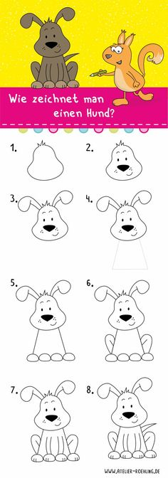 How to draw a dog - step by step with PDF drawing .-Wie zeichnet man einen Hund – Schritt für Schritt mit PDF Anleitung How to draw a dog Drawing instructions – step by step instructions paint draw - Dog Steps, Jar Art, Young Animal, Step By Step Drawing, Drawing For Kids, Dog Supplies, Animal Drawings, Easy Drawings, Art Blog