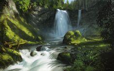 Waterfalls. Landscape Study bu AlexAlexandrov on deviantart