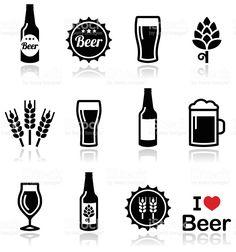 vector conjunto de iconos de cerveza frasco de vidrio de cerveza vector de stock…