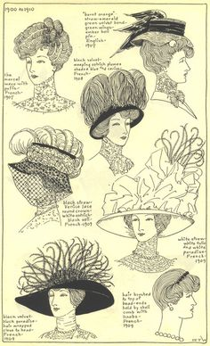 1900-1910: The Mode in Hats and Headdress: A Historical Survey with 198 Plates, by R. Turner Wilcox.