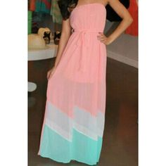 Wholesale Sexy Sleeveless Strapless Color Block Striped Chiffon Women's Maxi Dress Only $7.62 Drop Shipping | TrendsGal.com