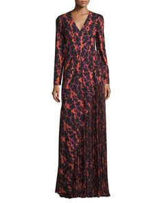 J Mendel Ikat Printed Pleated-inset Gown In Super Pink Multi Purple Evening Gowns, Purple Gowns, Long Sleeve Evening Dresses, Long Sleeve Gown, Purple Dress, Dress Long, Ikat Print, Lace Inset, Silk Dress