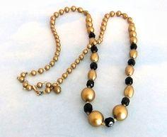 Vintage Japan Black and Goldtone Bead Necklace by ediesbest, $9.95
