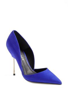 Stunning, blue & gold d'Orsay pump