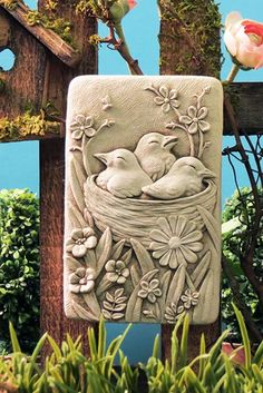 Cozy Nest -- Carruth Studio: Waterville, OHThe George Carruth Cozy Nest Plaque is adorable with the three baby birds nestled into their nest in the flower Cozy Nest - Design of the month for MayDealer or Reseller Listed Art Sculptures Clay Wall Art, Mural Wall Art, Mural Painting, Paintings, Clay Art Projects, Clay Crafts, Cement Crafts, Sculpture Clay, Wall Sculptures