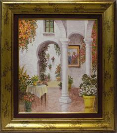 Aguilar : Courtyard. Medium: Oil on wood Measurements (cm): 76x67 Canvas measurements (cm): 55x46 Interior frame: Yes Marvellous work painted in oils with impressionist lines, full of light and colour, a faithful reflection of the atmospheric ambiance of Andalusian courtyards.  $594.18