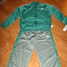 NWT young men's sz L green/gray PUMA track suit Young men's/ boys size L green and gray PUMA track suit. New with the tags. Puma Other