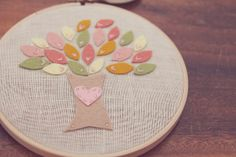 Embroidery Hoop Art Felt Tree with Pink Heart  MADE TO ORDER by Catshy Crafts. $38.00, via Etsy.