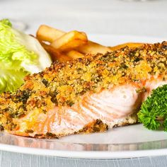 Lemon Glazed Salmon with Garlic Panko - salmon fillets - honey - fresh thyme - lemon - fresh rosemary - garlic clove - panko bread crumbs - olive oil Fish Recipes, Seafood Recipes, Great Recipes, Cooking Recipes, Favorite Recipes, Dinner Recipes, Salmon Dishes, Fish Dishes, Seafood Dishes