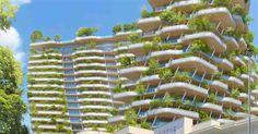 Terraços em forma de ondas verdes são destaque em complexo na França