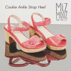 Miz Mooz Cookie Ankle Strap Heel - A vintage style feminine sandal Miz Mooz Cookie has a cork platform with a curved heel a tapered peep toe and a oversized decorative button with hook-and-loop ankle strap. Featuring a shiny leather upper leather lining cushioned footbed and 3 heel. #shoes #thoseshoes #mizmooz