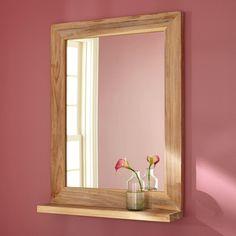 "24"" Liani Teak Vanity Mirror - Whitewash"