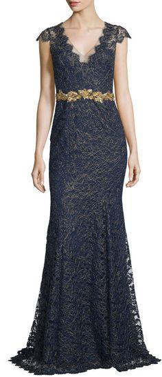 Marchesa Notte Cap-Sleeve Metallic Lace Gown