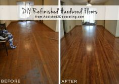 DIY refinished hardwood floors, before and after (65-year-old oak floors) from www.Addicted2Decorating.com - She answers questions about redoing her floor.