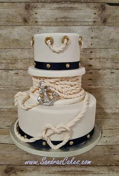Nautical cake - For all your cake decorating supplies, please visit… Gorgeous Cakes, Pretty Cakes, Cute Cakes, Amazing Cakes, Nautical Wedding Cakes, Nautical Cake, Camo Wedding, Anchor Wedding, Nautical Party