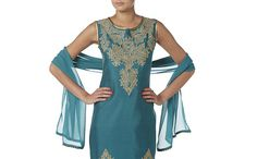 TURQUOISE AND GOLD TROUSER SUIT landscape