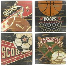 Vintage Sports Wood Wall Plaques | Hobby Lobby