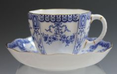 Royal Crown Derby Blue Pattern 3145 Antique Cup and Saucer - Excellent