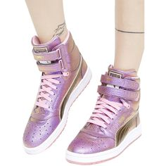 PUMA Sky II High Reset High-Top Sneaker ($90) ❤ liked on Polyvore featuring shoes, sneakers, hi top velcro sneakers, velcro sneakers, pink sneakers, puma shoes and gold hi top sneakers