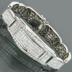 Unique 18K Man White Gold Diamond Bracelet 17.50ct