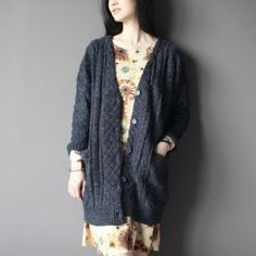 Gray woolen knitted cardigan coat plus size