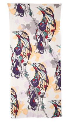 YARNZ Watercolor Birds Cashmere Scarf