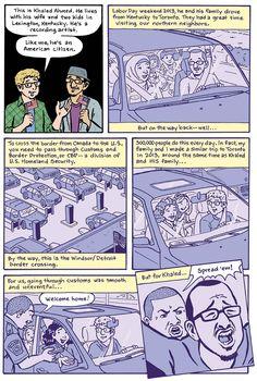 Racial profiling at the U.S. border - The Nib- [Click for the full cartoon]