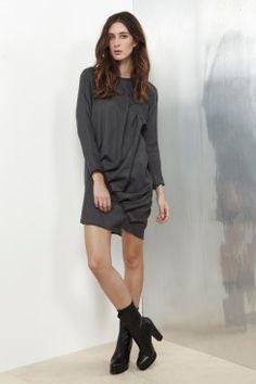 Grey Soft Wool Twist Dress