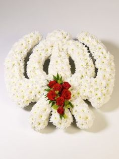 Sikh Khanda design with Chrysanthemums and Roses, available from: www.sussexfunerals.com. £185 Funeral Flowers, Love Flowers, Floral Arrangements, Create Your Own, Christmas Wreaths, Floral Design, Creations, Chrysanthemums, Holiday Decor