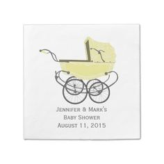 Shop Yellow Pram Custom Baby Shower Paper Napkins created by Custombabies. Personalize it with photos & text or purchase as is! Baby Shower Napkins, Party Napkins, Baby Shower Parties, Baby Shower Themes, Baby Shower Gifts, Baby Shower Activities, Baby Yellow, Personalized Baby, Baby Shower Invitations