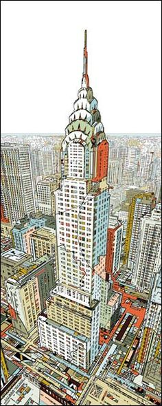 Manhattan Fine Art Print by HR-FM. Authentic giclee print artwork on paper or canvas. Wall Art purchases directly support the artist. New York Illustration, Comics Illustration, Illustrations, Building Illustration, Bg Design, City Drawing, Building Art, Building Sketch, Chrysler Building