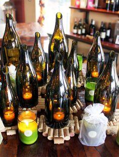Upcycled wine bottle centerpiece