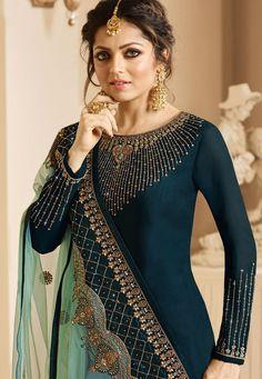 Satin Georgette Designer Drashti Dhami Churidar Suit for Party Wear Party Wear Indian Dresses, Salwar Suits Party Wear, Churidar Suits, Indian Outfits, Fancy Blouse Designs, Designs For Dresses, Anarkali, Saree, Sharara
